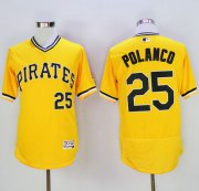 Wholesale Cheap Pirates #25 Gregory Polanco Gold Flexbase Authentic Collection Cooperstown Stitched MLB Jersey