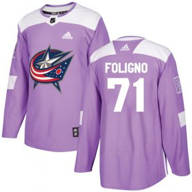 Wholesale Cheap Adidas Blue Jackets #71 Nick Foligno Purple Authentic Fights Cancer Stitched Youth NHL Jersey