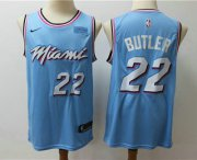 Wholesale Cheap Men's Miami Heat #22 Jimmy Butler Light Blue Nike Swingman 2018 playoffs Earned Edition Stitched Jersey With The Sponsor Logo