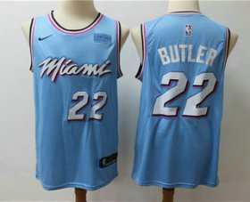 Wholesale Cheap Men\'s Miami Heat #22 Jimmy Butler Light Blue Nike Swingman 2018 playoffs Earned Edition Stitched Jersey With The Sponsor Logo