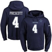 Wholesale Cheap Nike Cowboys #4 Dak Prescott Navy Blue Name & Number Pullover NFL Hoodie