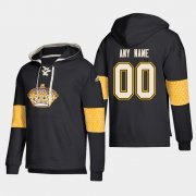 Wholesale Cheap Los Angeles Kings Personalized Lace-Up Pullover Hoodie Black