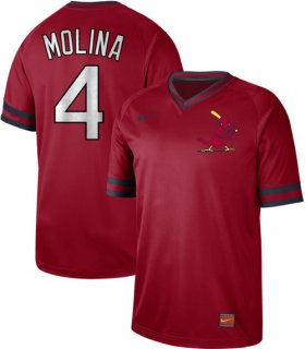 Wholesale Cheap Nike Cardinals #4 Yadier Molina Red Authentic Cooperstown Collection Stitched MLB Jersey