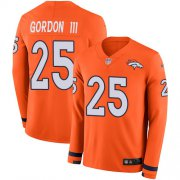 Wholesale Cheap Nike Broncos #25 Melvin Gordon III Orange Team Color Youth Stitched NFL Limited Therma Long Sleeve Jersey