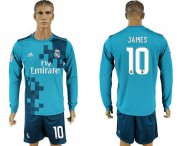Wholesale Cheap Real Madrid #10 James Sec Away Long Sleeves Soccer Club Jersey