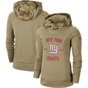 Wholesale Cheap Women's New York Giants Nike Khaki 2019 Salute to Service Therma Pullover Hoodie