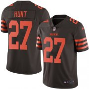 Wholesale Cheap Nike Browns #27 Kareem Hunt Brown Men's Stitched NFL Limited Rush Jersey