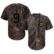Wholesale Cheap Reds #9 Mike Moustakas Camo Realtree Collection Cool Base Stitched Youth MLB Jersey