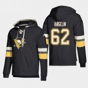 Wholesale Cheap Pittsburgh Penguins #62 Carl Hagelin Black adidas Lace-Up Pullover Hoodie