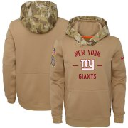 Wholesale Cheap Youth New York Giants Nike Khaki 2019 Salute to Service Therma Pullover Hoodie