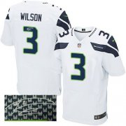 Wholesale Cheap Nike Seahawks #3 Russell Wilson White Men's Stitched NFL Elite Autographed Jersey