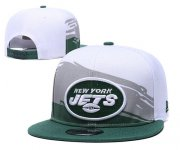 Wholesale Cheap Jets Team Logo White Green Adjustable Hat GS