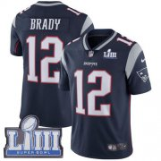 Wholesale Cheap Nike Patriots #12 Tom Brady Navy Blue Team Color Super Bowl LIII Bound Youth Stitched NFL Vapor Untouchable Limited Jersey