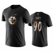 Wholesale Cheap Steelers #90 T.J._Watt Black NFL Black Golden 100th Season T-Shirts