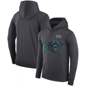 Wholesale Cheap NFL Men\'s Carolina Panthers Nike Anthracite Crucial Catch Performance Pullover Hoodie
