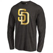 Wholesale Cheap San Diego Padres Gold Collection Long Sleeve Tri-Blend T-Shirt Black