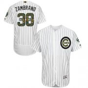 Wholesale Cheap Cubs #38 Carlos Zambrano White(Blue Strip) Flexbase Authentic Collection Memorial Day Stitched MLB Jersey