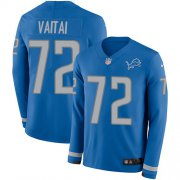 Wholesale Cheap Nike Lions #72 Halapoulivaati Vaitai Blue Team Color Men's Stitched NFL Limited Therma Long Sleeve Jersey