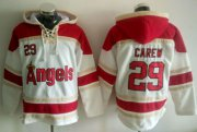 Wholesale Cheap Angels of Anaheim #29 Rod Carew White Sawyer Hooded Sweatshirt MLB Hoodie