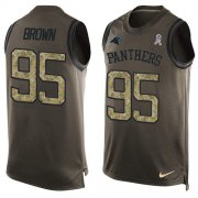 Wholesale Cheap Nike Panthers #95 Derrick Brown Green Men's Stitched NFL Limited Salute To Service Tank Top Jersey