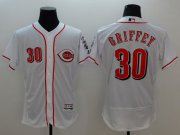 Wholesale Cheap Reds #30 Ken Griffey White Flexbase Authentic Collection Stitched MLB Jersey
