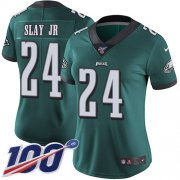Wholesale Cheap Nike Eagles #24 Darius Slay Jr Green Team Color Women's Stitched NFL 100th Season Vapor Untouchable Limited Jersey