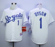 Wholesale Cheap Royals #1 Jarrod Dyson White Cool Base Stitched MLB Jersey