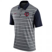 Wholesale Cheap Men's Minnesota Twins Nike Gray Dri-FIT Stripe Polo
