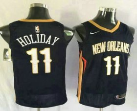 Wholesale Cheap Men\'s New Orleans Pelicans #11 Jrue Holiday New Navy Blue 2017-2018 Nike Swingman Stitched NBA Jersey