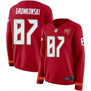 Wholesale Cheap Nike Buccaneers #87 Rob Gronkowski Red Team Color Women's Stitched NFL Limited Therma Long Sleeve Jersey