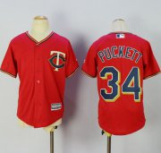 Wholesale Cheap Twins #34 Kirby Puckett Red Alternate Cool Base Stitched Youth MLB Jersey