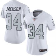Wholesale Cheap Nike Raiders #34 Bo Jackson White Women's Stitched NFL Limited Rush Jersey