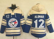 Wholesale Cheap Blue Jays #12 Roberto Alomar Blue Sawyer Hooded Sweatshirt MLB Hoodie