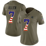 Wholesale Cheap Nike Panthers #7 Kyle Allen Olive/USA Flag Women's Stitched NFL Limited 2017 Salute to Service Jersey