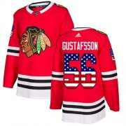 Wholesale Cheap Adidas Blackhawks #56 Erik Gustafsson Red Home Authentic USA Flag Stitched Youth NHL Jersey