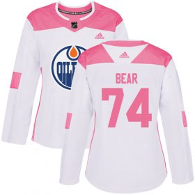 Wholesale Cheap Adidas Oilers #74 Ethan Bear White/Pink Authentic Fashion Women\'s Stitched NHL Jersey