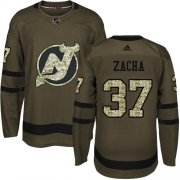 Wholesale Cheap Adidas Devils #37 Pavel Zacha Green Salute to Service Stitched NHL Jersey