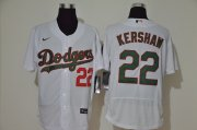 Wholesale Cheap Men's Los Angeles Dodgers #22 Clayton Kershaw White With Green Name Stitched MLB Flex Base Nike Jersey