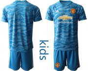 Wholesale Cheap Manchester United Blank Light Blue Goalkeeper Kid Soccer Club Jersey