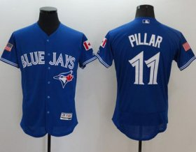 Wholesale Cheap Blue Jays #11 Kevin Pillar Blue Fashion Stars & Stripes Flexbase Authentic Stitched MLB Jersey