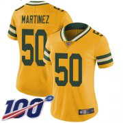 Wholesale Cheap Nike Packers #50 Blake Martinez Yellow Women's Stitched NFL Limited Rush 100th Season Jersey