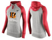 Wholesale Cheap Women's Nike Cincinnati Bengals Performance Hoodie Grey & Red_1