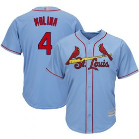 Wholesale Cheap Cardinals #4 Yadier Molina Light Blue Cool Base Stitched Youth MLB Jersey
