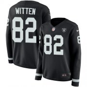 Wholesale Cheap Nike Raiders #82 Jason Witten Black Team Color Women's Stitched NFL Limited Therma Long Sleeve Jersey