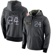 Wholesale Cheap NFL Men's Nike Seattle Seahawks #24 Marshawn Lynch Stitched Black Anthracite Salute to Service Player Performance Hoodie