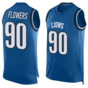 Wholesale Cheap Nike Lions #90 Trey Flowers Blue Team Color Men's Stitched NFL Limited Tank Top Jersey