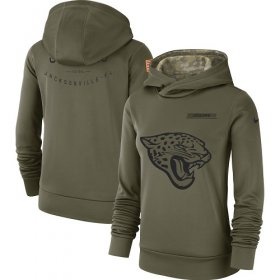 Wholesale Cheap Women\'s Jacksonville Jaguars Nike Olive Salute to Service Sideline Therma Performance Pullover Hoodie