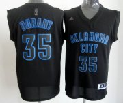 Wholesale Cheap Oklahoma City Thunder #35 Kevin Durant All Black With Blue Fashion Jersey