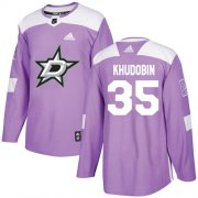 Cheap Adidas Stars #35 Anton Khudobin Purple Authentic Fights Cancer Stitched NHL Jersey