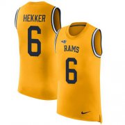 Wholesale Cheap Nike Rams #6 Johnny Hekker Gold Men's Stitched NFL Limited Rush Tank Top Jersey